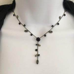 NWT Carolee Black Crystal Dangle Necklace Gunmetal